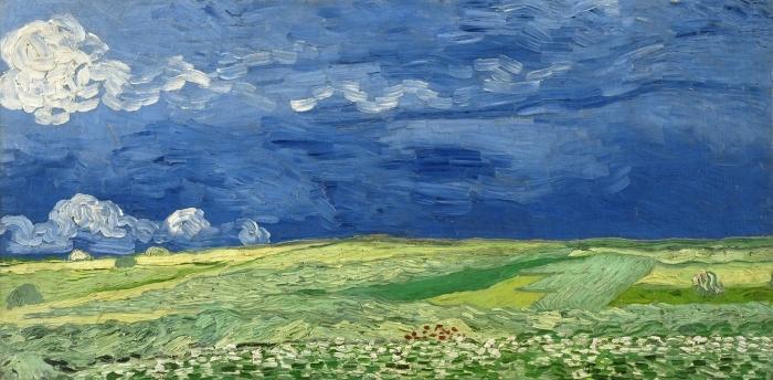 Papier peint vinyle Vincent van Gogh - Champ de blé sous un ciel orageux - Reproductions