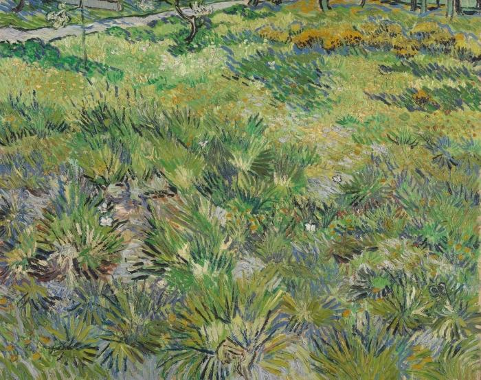 Sticker Pixerstick Vincent van Gogh - Herbes dans le jardin de l'hôpital de St Paul à St Remy - Reproductions