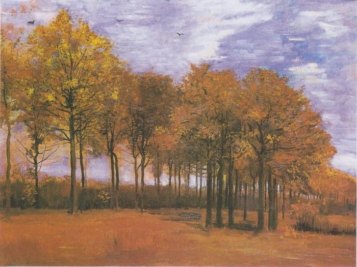 Pixerstick Aufkleber Vincent van Gogh - Herbstlandschaft - Reproductions