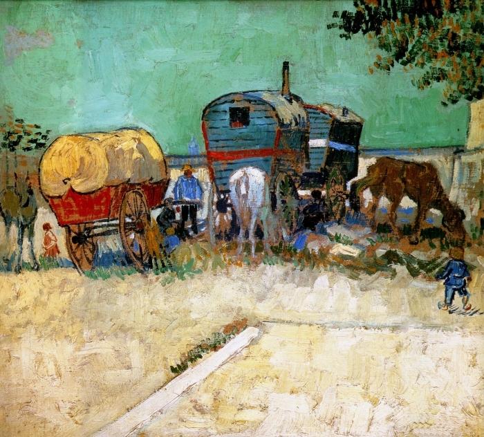 Naklejka Pixerstick Vincent van Gogh - Cygańskie obozowisko z wagonami - Reproductions