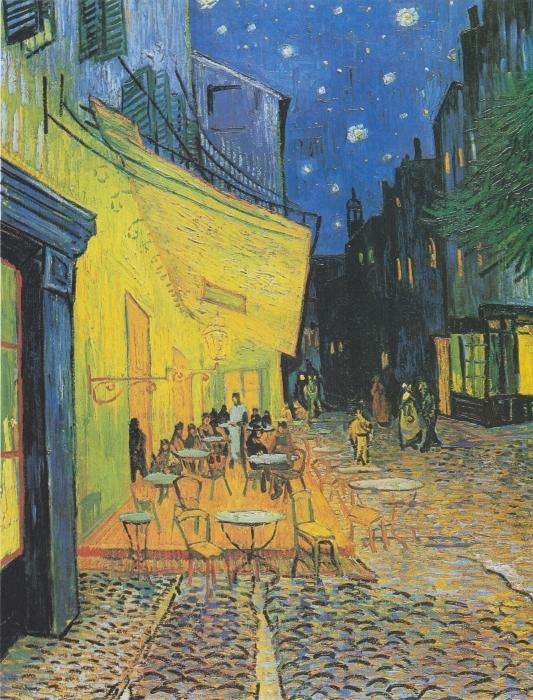 Papier peint vinyle Vincent van Gogh - Terrasse du café le soir - Reproductions