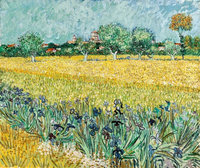Naklejka Pixerstick Vincent van Gogh - Widok na Arles z irysami na pierwszym planie - Reproductions