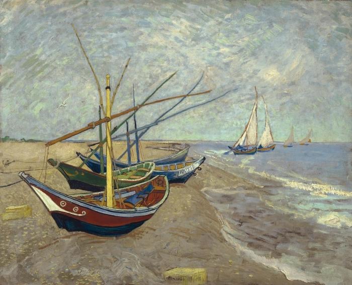 Naklejka Pixerstick Vincent van Gogh - Łodzie rybackie na plaży Saintes-Mariedela-Mer - Reproductions