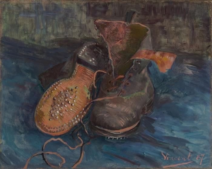 Papier peint vinyle Vincent van Gogh - Paire de souliers sur sol bleu - Reproductions