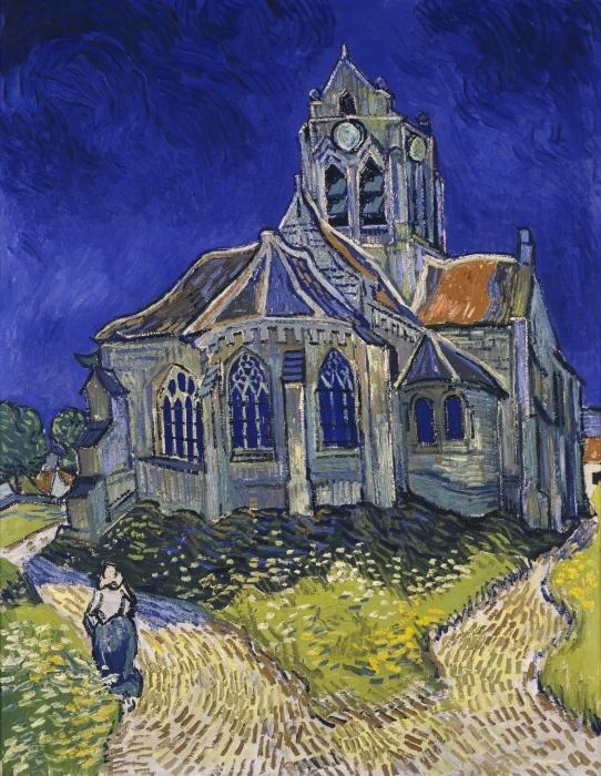Vincent van Gogh - The church in Auverssur Pixerstick Sticker - Reproductions