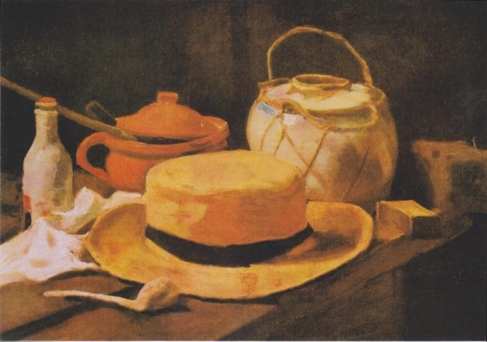 Vinilo Pixerstick Vincent van Gogh - Todavía vida con el sombrero de paja amarilla - Reproductions