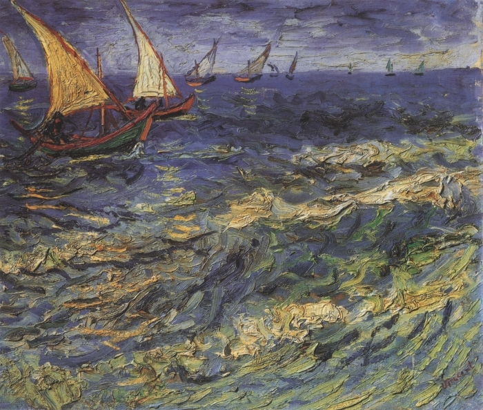 Fototapeta winylowa Vincent van Gogh - Pejzaż morski z żaglówką - Reproductions