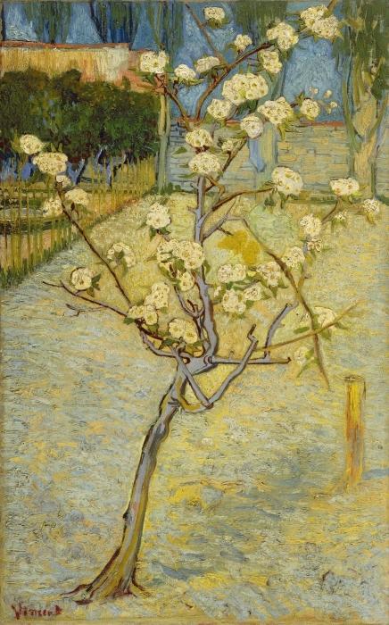 Naklejka Pixerstick Vincent van Gogh - Kwitnące drzewo brzoskwiniowe - Reproductions