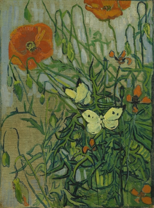 Vinilo Pixerstick Vincent van Gogh - Mariposas y amapolas - Reproductions