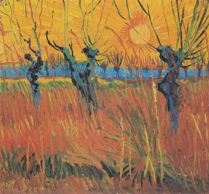 Naklejka Pixerstick Vincent van Gogh - Wierzby o zachodzie słońca - Reproductions