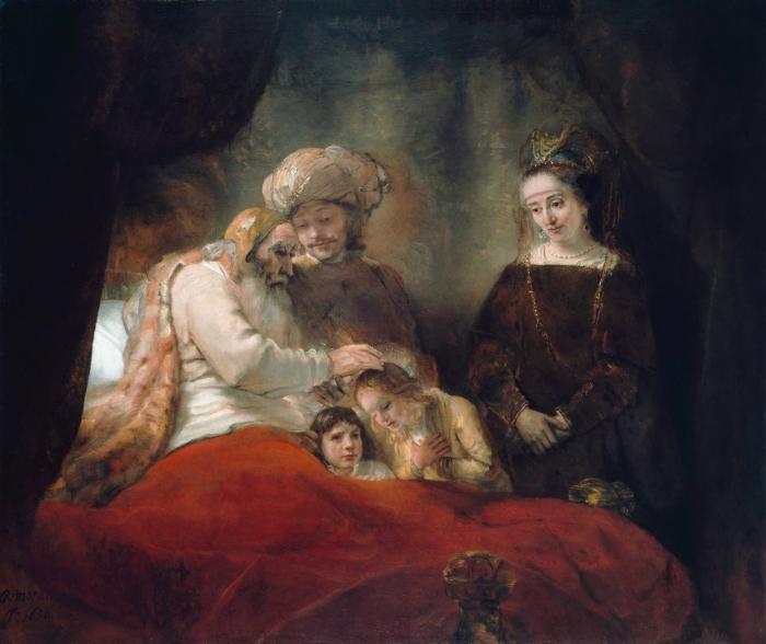 Pixerstick Sticker Rembrandt van Rijn - Jacob zegent de zonen van Jozef - Reproducties