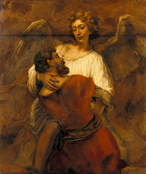 Fototapeta winylowa Rembrandt - Walka Jakuba z aniołem - Reprodukcje