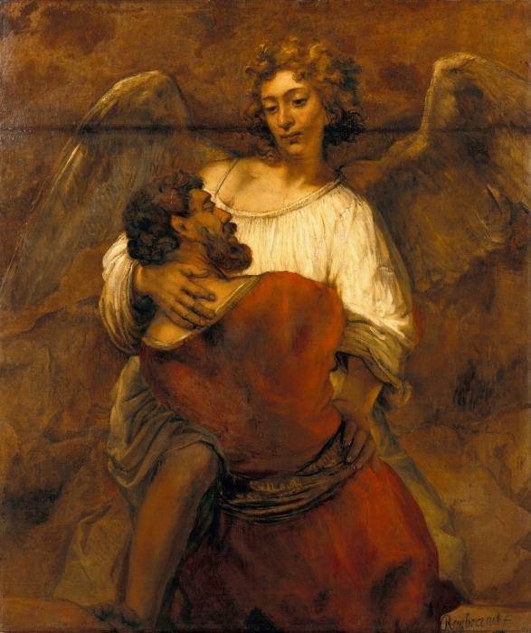 Naklejka Pixerstick Rembrandt - Walka Jakuba z aniołem - Reprodukcje