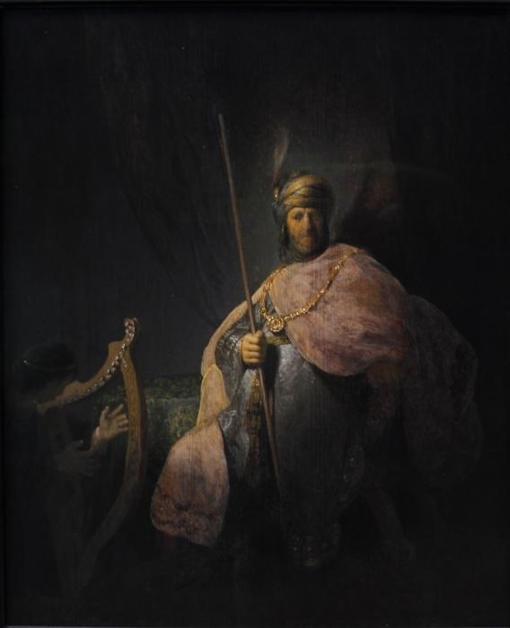 Naklejka Pixerstick Rembrandt - Dwaid grający na harfie Saulowi - Reprodukcje