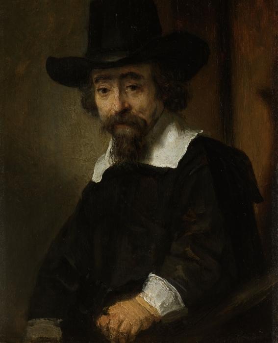Naklejka Pixerstick Rembrandt - Portret Dr. Ephraima Bueno - Reprodukcje