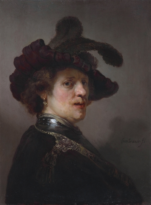 Pixerstick Aufkleber Rembrandt - Selbstbildnis mit Federhut - Reproduktion