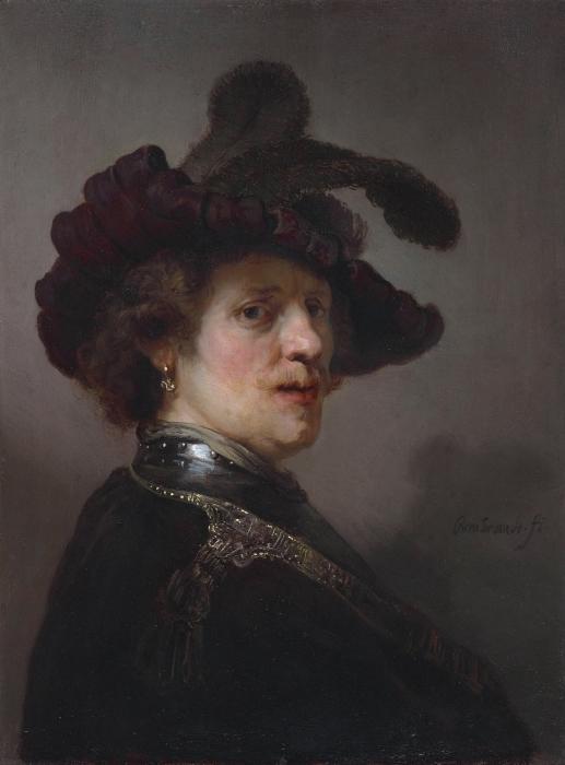 Papier peint vinyle Rembrandt - Autoportrait portant un bonnet à plumes blanches - Reproductions