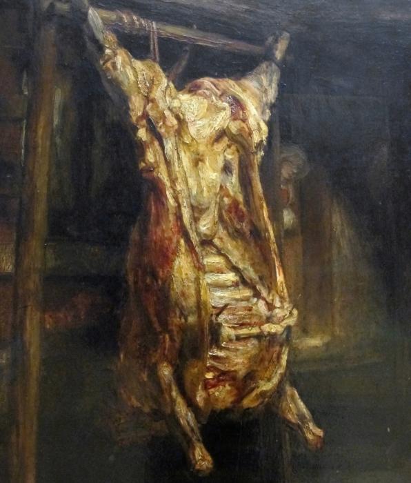 Pixerstick Aufkleber Rembrandt - Der geschlachtete Ochse - Reproduktion