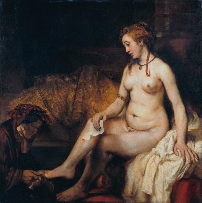 Vinilo Pixerstick Rembrandt - Bathseba en su baño - Reproducciones