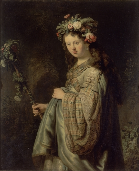 Naklejka Pixerstick Rembrandt - Saskia jako Flora - Reprodukcje