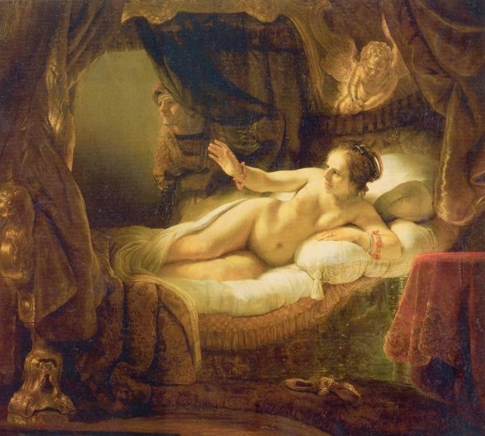 Naklejka Pixerstick Rembrandt - Danae - Reprodukcje