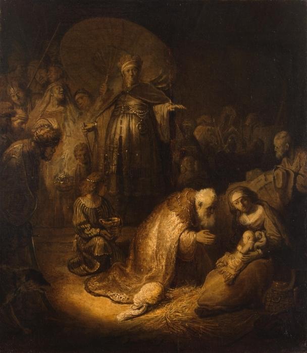 Naklejka Pixerstick Rembrandt - Pokłon Trzech króli - Reprodukcje