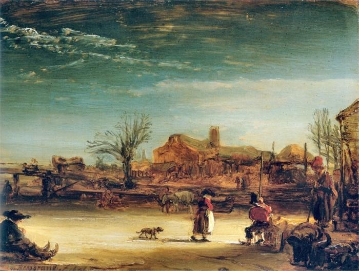 Naklejka Pixerstick Rembrandt - Zimowy pejzaż - Reprodukcje