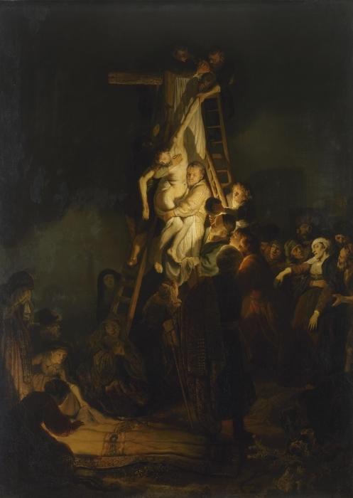 Naklejka Pixerstick Rembrandt - Zdjęcie z krzyża - Reprodukcje