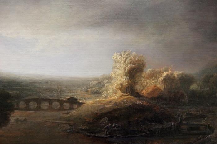 Pixerstick Aufkleber Rembrandt - Landschaft mit Bogenbrücke - Reproduktion