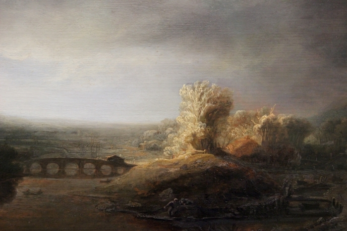 Rembrandt - Landscape with Arch Bridge Pixerstick Sticker - Reproductions