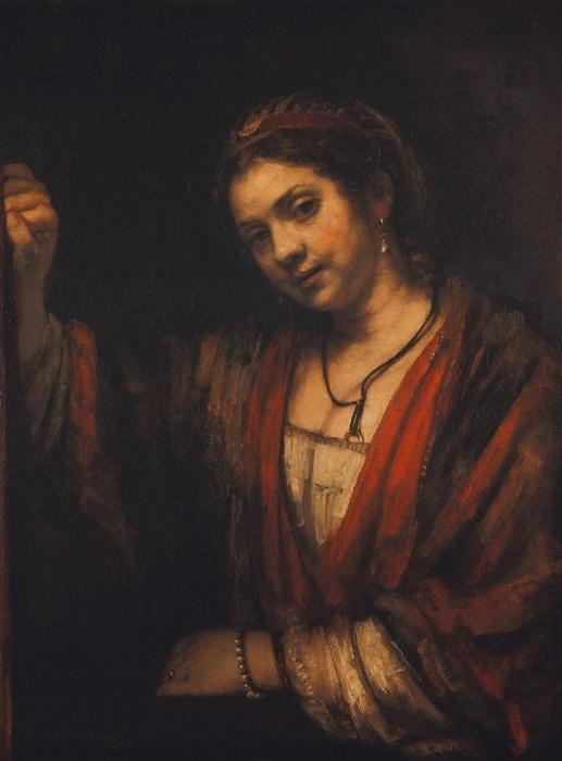 Naklejka Pixerstick Rembrandt - Portret Hendrickje Stoffels - Reprodukcje