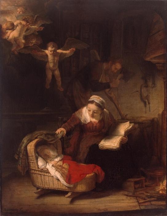 Pixerstick Sticker Rembrandt van Rijn - De Heilige Familie - Reproducties