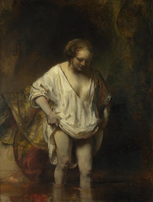 Papier peint vinyle Rembrandt - Femme se baignant dans une rivière - Reproductions