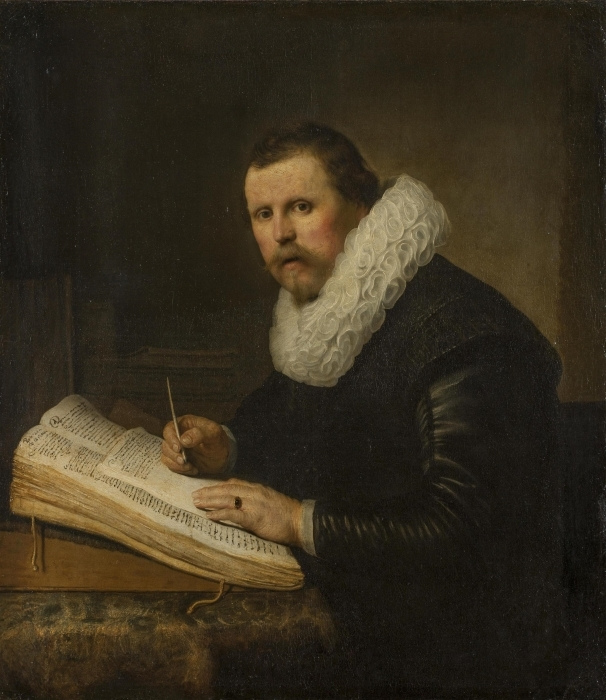 Sticker Pixerstick Rembrandt - Portrait d'un savant à son bureau - Reproductions