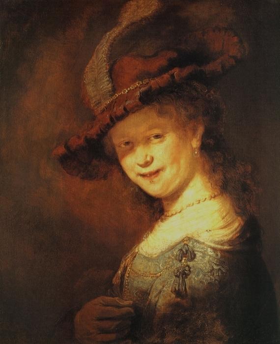 Papier peint vinyle Rembrandt - Saskia van Uylenburg, buste d'une jeune femme souriante - Reproductions