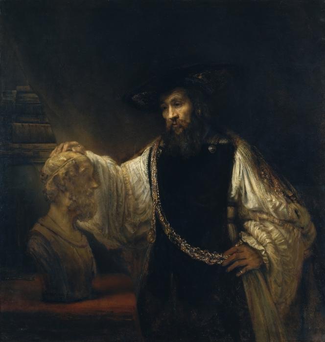 Sticker Pixerstick Rembrandt - Aristote contemplant le buste d'Homère - Reproductions