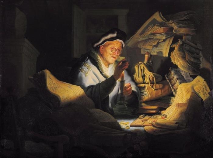 Vinyl-Fototapete Rembrandt - Der Geldwechsler - Reproduktion