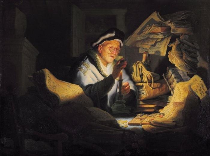Naklejka Pixerstick Rembrandt - Przypowieść o bogaczu - Reprodukcje