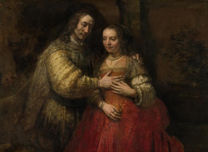 Vinyl Fotobehang Rembrandt van Rijn - De Joodse bruid - Portret van een paar als Isaak en Rebekka - Reproducties