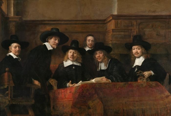 Naklejka Pixerstick Rembrandt - Syndycy cechu sukienników - Reprodukcje