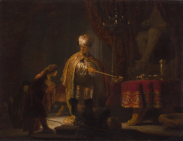 Pixerstick Aufkleber Rembrandt - Daniel und Cyrus vor dem Götzenbild des Bel - Reproduktion