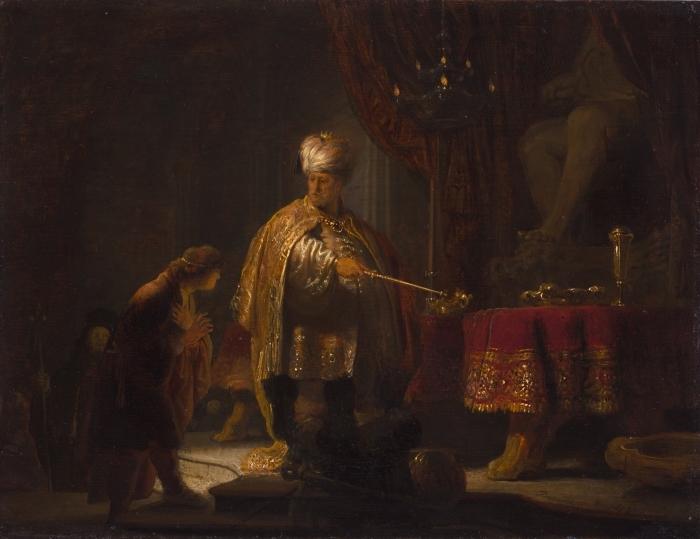 Papier peint vinyle Rembrandt - Daniel et Cyrus devant l'idole - Reproductions
