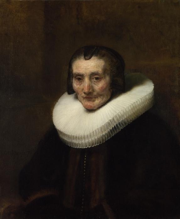 Naklejka Pixerstick Rembrandt - Portret Margarethy de Geer - Reprodukcje