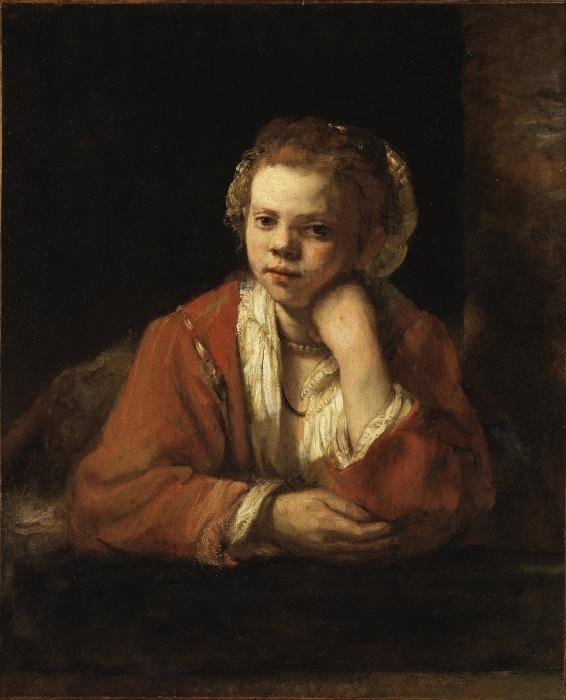 Naklejka Pixerstick Rembrandt - Portret dziewczyny w oknie - Reprodukcje