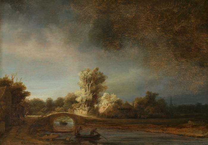 Naklejka Pixerstick Rembrandt - Pejzaż z kamiennym mostem - Reprodukcje