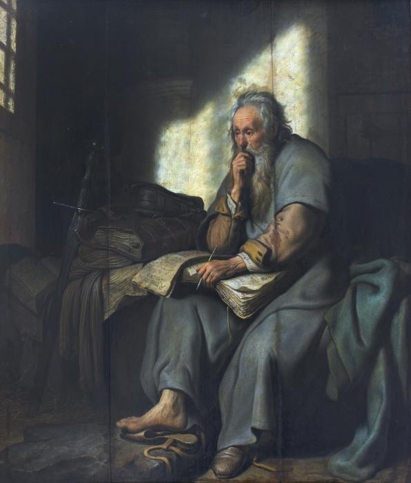 Naklejka Pixerstick Rembrandt - Święty Paweł w więzieniu - Reprodukcje