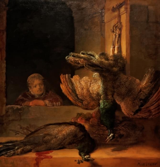 Vinilo Pixerstick Rembrandt - Naturaleza muerta con dos pavos reales y una niña - Reproducciones