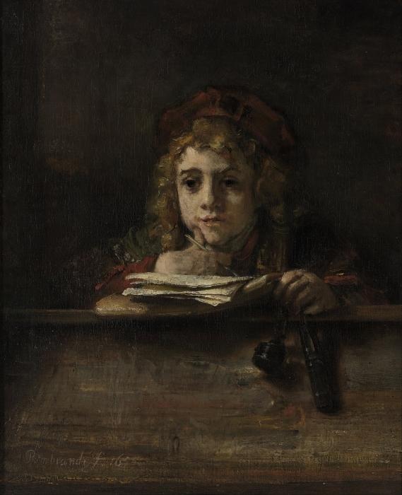 Vinyl Fotobehang Rembrandt van Rijn - Titus aan zijn lezenaar - Reproducties