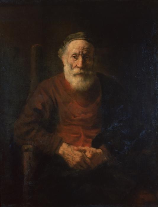Pixerstick Sticker Rembrandt van Rijn - Portret van een oude man in rood - Reproducties