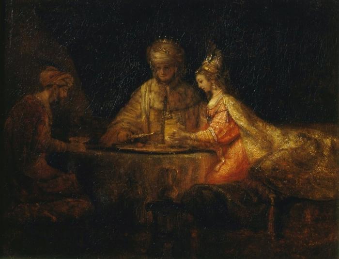 Naklejka Pixerstick Rembrandt - Ahaswer, Haman i Estera - Reprodukcje